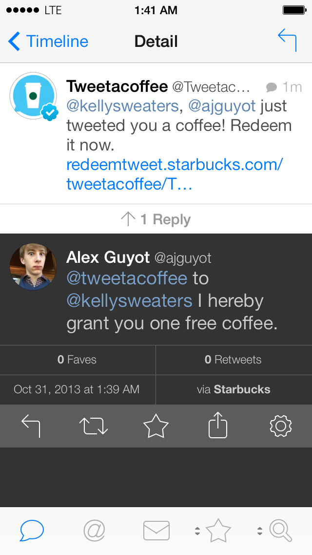 Tweet A Coffee Reply View